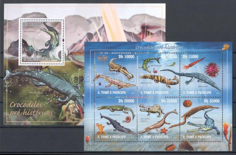 Őskori krokodilok kisív + blokk Prähistorische Reptilien Kleinbogen + Block Prehistoric crocodiles minisheet + block