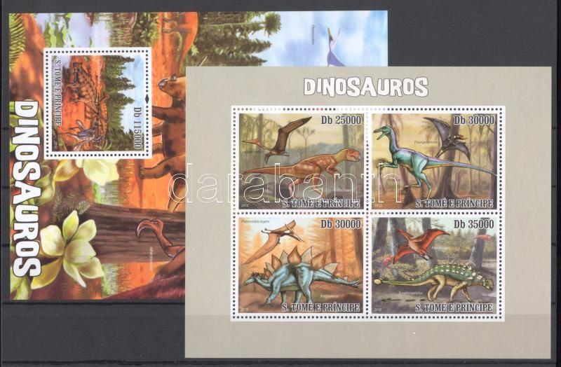 Dinoszauruszok kisív + blokk Prähistorische Reptilien Kleinbogen + Block Dinosaurs minisheet + block