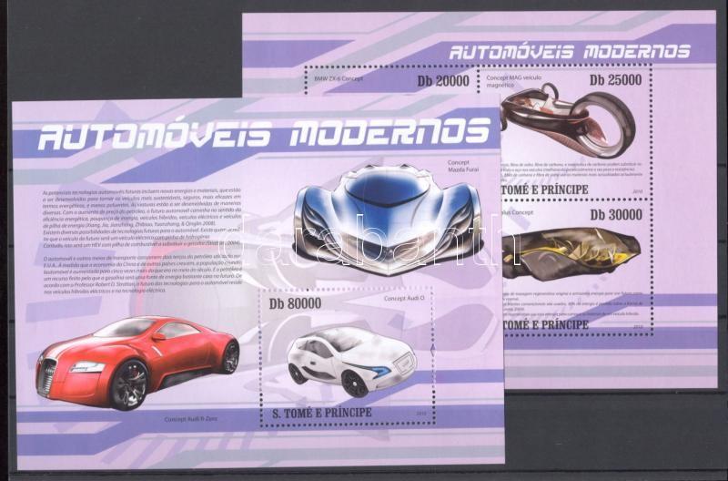 Modern kísérleti automobilok kisív + blokk Experimentelle Automobile Kleinbogen + Block Modern experimental automobiles minisheet + block