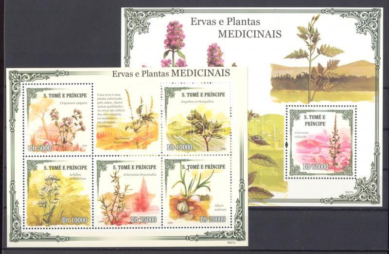 Herbs minisheet + block Heilpflanzen Kleinbogen + Block Gyógynövények kisív + blokk
