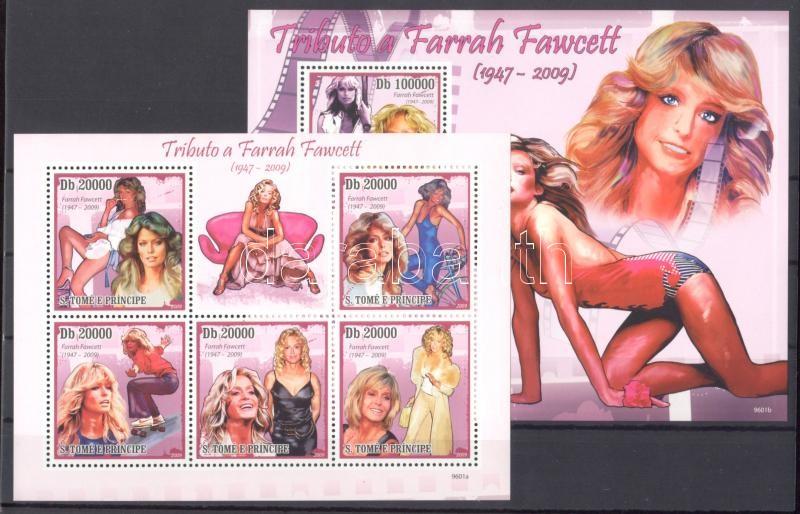 Farrah Fawcett minisheet + block Farrah Fawcett Kleinbogen + Block Farrah Fawcett kisív + blokk