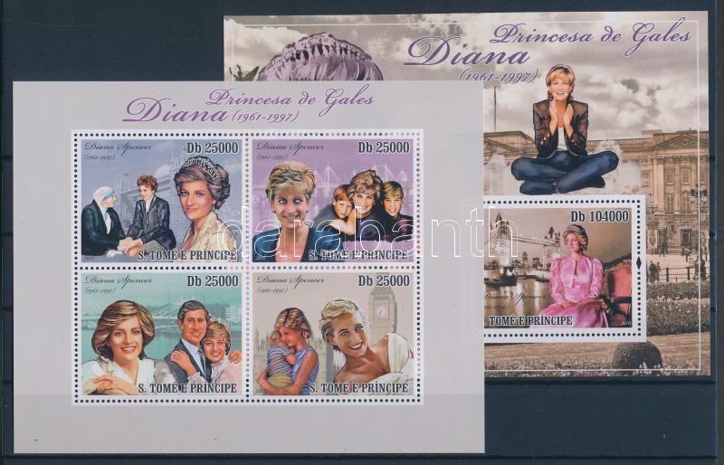 Lady Diana kisív + blokk Prinzessin Diana Kleinbogen + Block Lady Diana minisheet + block