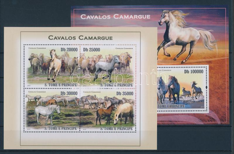 Camargue-i lovak kisív + blokk Camarguepferde Kleinbogen + Block Camargue horses minisheet + block
