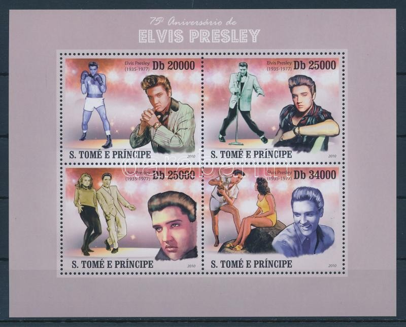 75 éve született Elvis Presley kisív 75. Geburtstag von Elvis Presley Kleinbogen 75th birthday of Elvis Presley minisheet