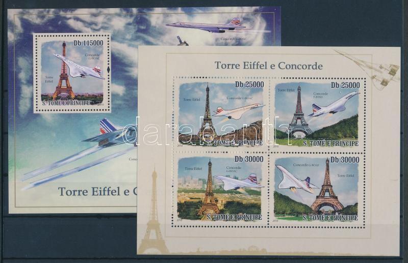 Concorde airplane and Eiffel tower minisheet + block Concorde und Eiffelturm Kleinbogen + Block A Concorde repülő és az Eiffel torony kisív + blokk