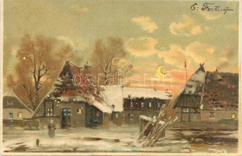 Cottages in winter, hold to light litho, Téli házak, hold to light litho