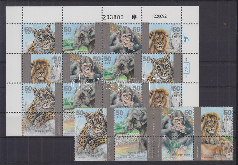 Zoo stripe of 4 with tab + complete sheet, Állatkert tabos négyescsík + teljes ív, Tiere im Zoo Viererstreifen mit Tab + Bogen