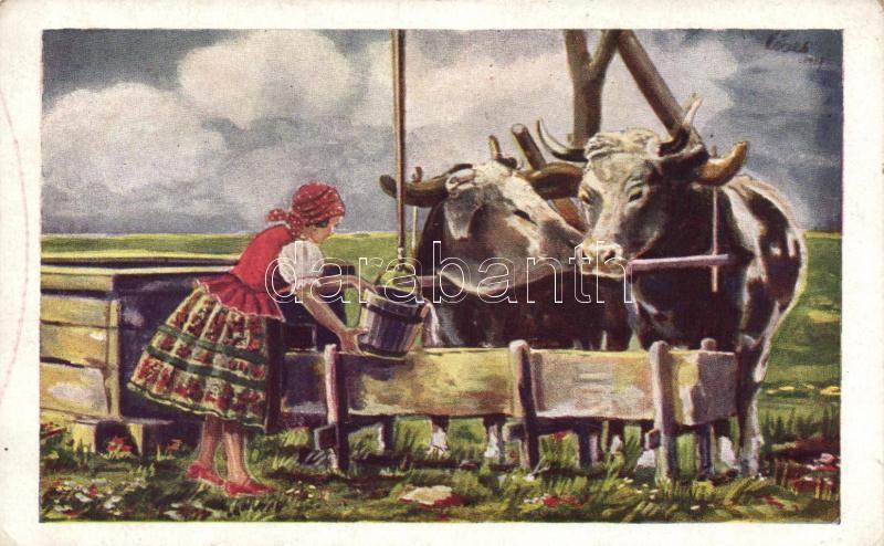 Nagyalföld, kútnál, magyar folklór