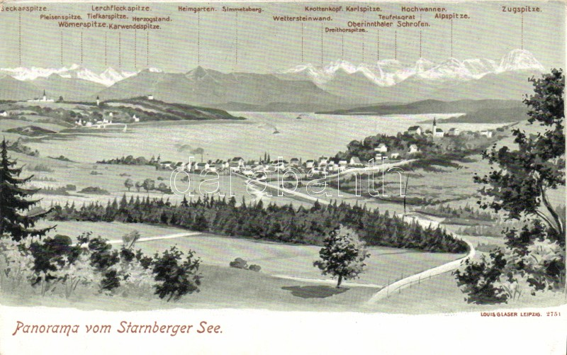 Starnberger See, panorama of the mountains