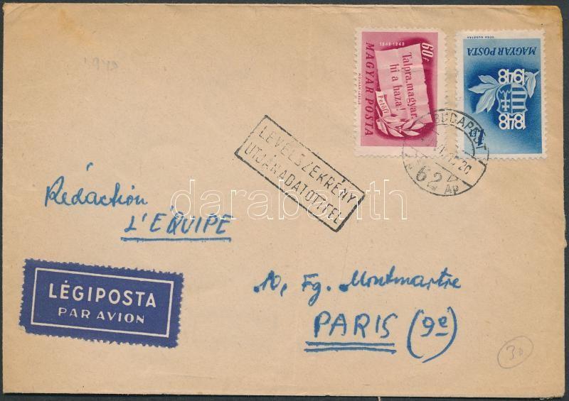Centenary stamps on Airmail cover to Paris, Légi levél Párizsba centenárium bélyegekkel