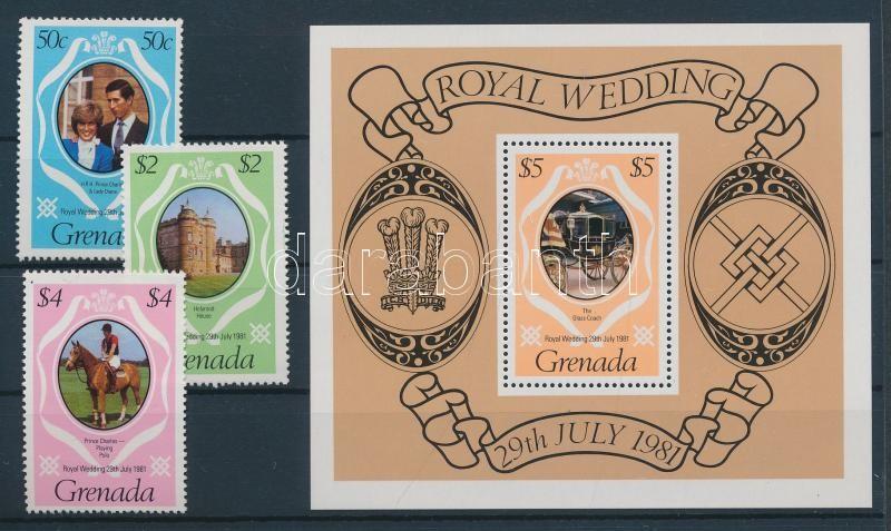Wedding of Charles and Diana set + block + self-adhesive stamp booklet Hochzeit von Prinz Charles und Lady Diana Spencer Satz + Block + selbstklebendes Markenheftchen Károly és Diana esküvője sor + blokk + öntapadós bélyegfüzet