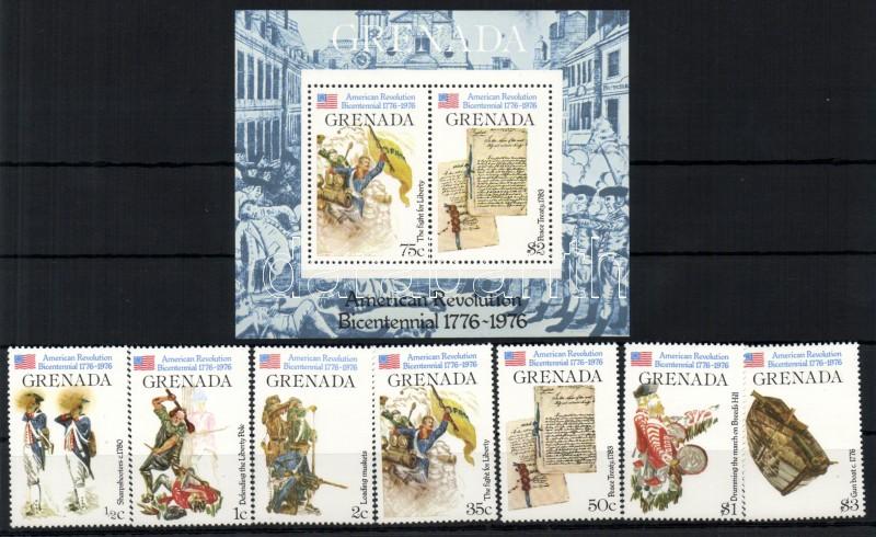 Bicentenary of the American Independence set + block 200 Jahre Unabhängigkeit der Vereinigten Staaten von Amerika Satz + Block 200 éves Amerika függetlensége sor + blokk