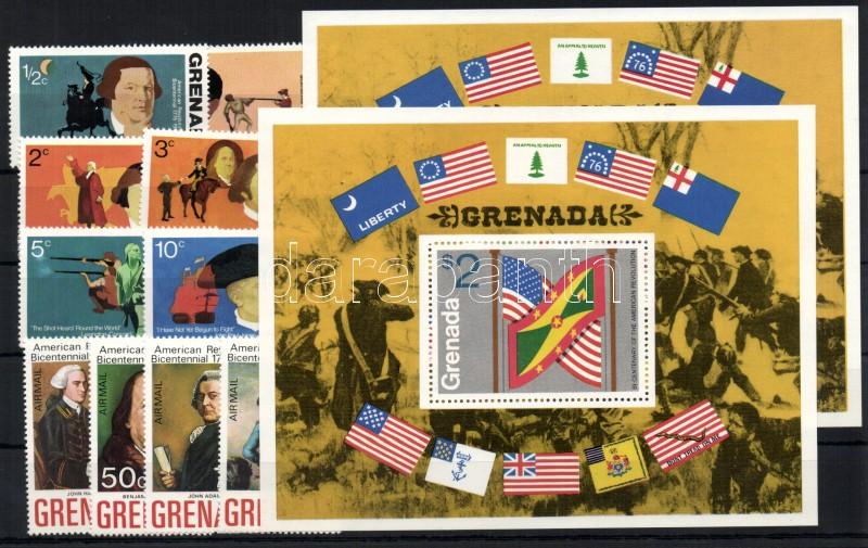 200 éves az amerikai függetlenség sor + 2 blokk 200 Jahre Unabhängigkeit der Vereinigten Staaten von Amerika Satz + 2 Blöcke Bicentenary of the American Independence set + 2 blocks