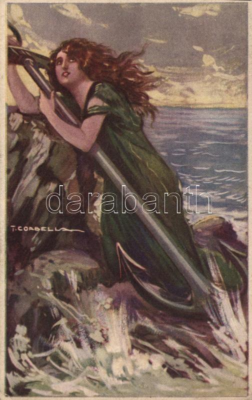 Italian Art Deco postcard, rare series, Anna & Gasparini 122-4 s: T. Corbella, Olasz Art Deco művészlap, ritka széria, Anna & Gasparini 122-4 s: T. Corbella