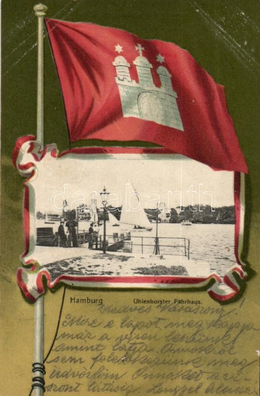 Hamburg, Uhlenhorster Fährhaus / Ferry house, flag litho