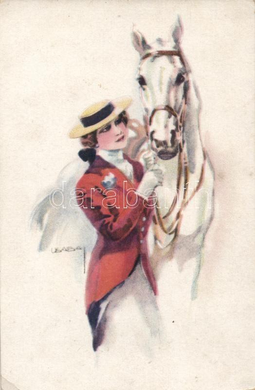 Female jockey, Italian Art Deco postcard, WSSB Serie 5051 s: Usabal, Női zsoké, olasz Art Deco művészlap, WSSB Serie 5051 s: Usabal