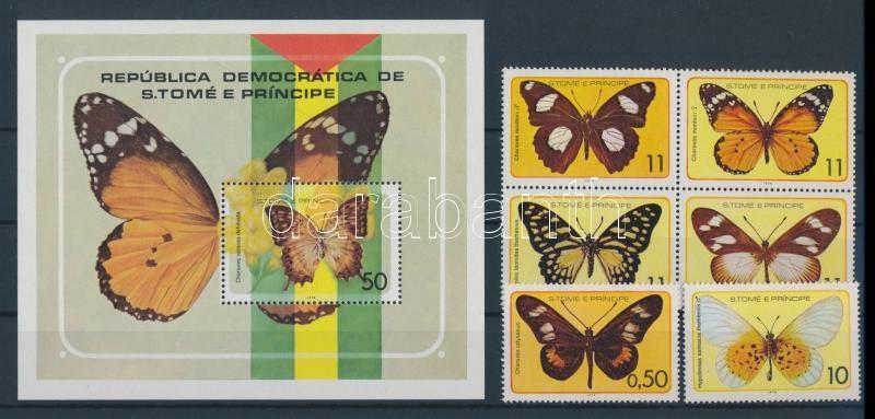 Lepkék sor, közte négyestömb + blokk Schmetterlinge Satz mit Viererblock + Block Butterflies set with block of 4 + block