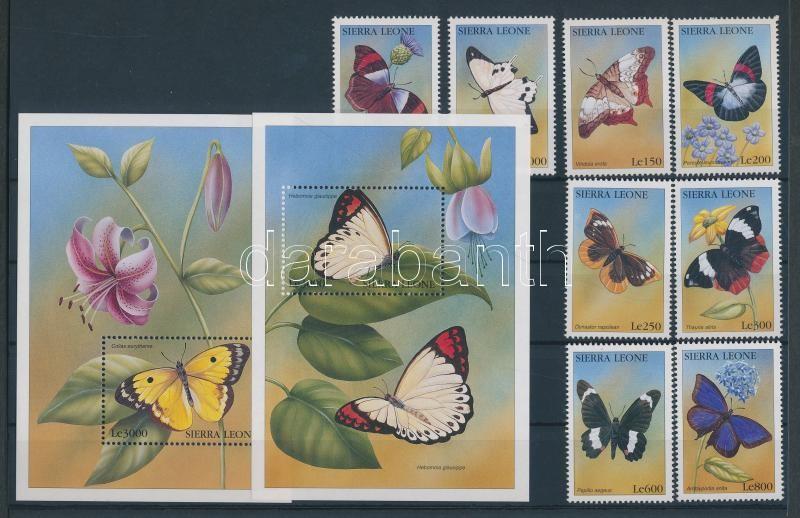 Lepkék sor + 2 blokk Schmetterlinge Satz + 2 Blöcke Butterflies set + 2 blocks