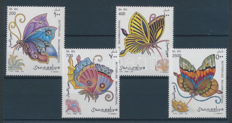 Lepkék sor + blokk 2 stecklapon Schmetterlinge Satz + Block Butterflies set + block