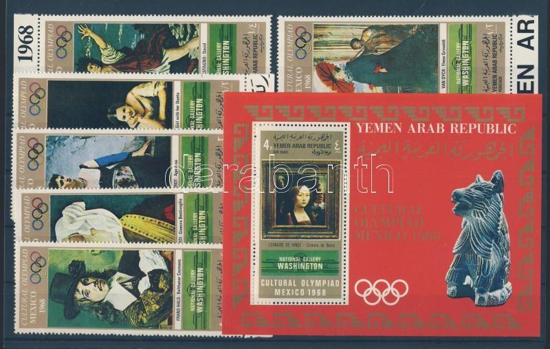 Culture-Olympics Mexico (VII-VIII) margin set + block Kultur-OLympiade Mexiko (VIII) Satz mit Rand + Block Kulturális olimpia Mexikó (VII-VIII.) ívszéli sor + blokk