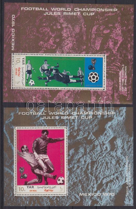 Futball világbajnokság, Mexikó (VIII.) 2 fogazott blokk Fußball-Weltmeisterschaft, Mexiko (VIII) 2 gezähnte Blöcke Football World Cup, Mexico (VIII) 2 perforated blocks