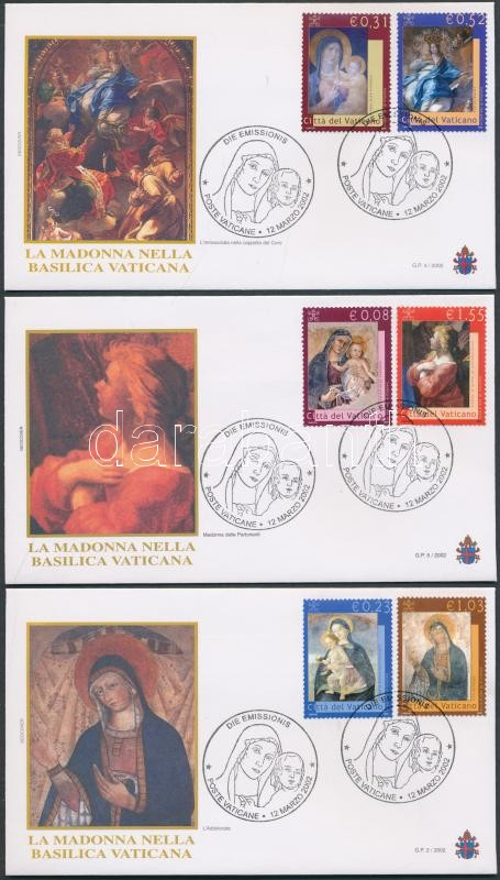 Mary's portrayals in the Saint Peter's Basilica set 5 FDC Mariendarstellungen im Petersdom Satz 5 FDC Mária ábrázolások a Szent Péter bazilikában sor 5 FDC