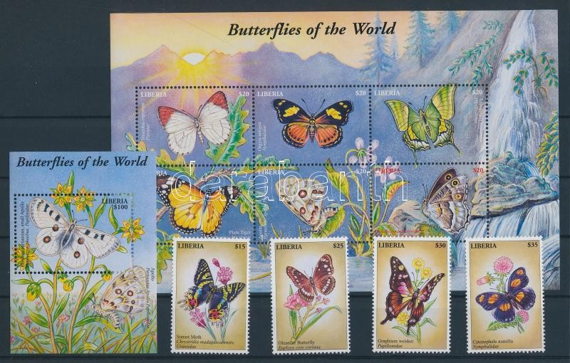 Butterflies set + minisheet + block Schmetterlinge Satz + Kleinbogen + Block Lepkék sor + kisív + blokk
