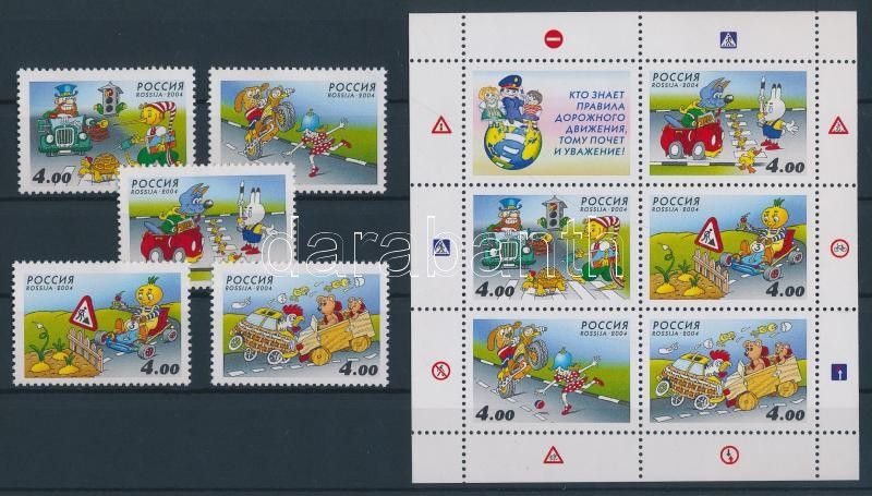 Safe traffic of the children stamps plucked out from the block + block Sicherheit der Kinder im Straßenverkehr Marken aus Block + Block Gyerekek biztonságos közlekedése blokkból kitépett bélyegek + blokk