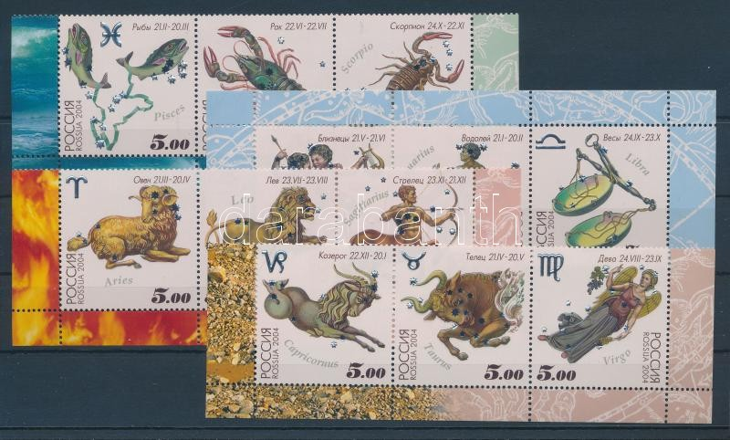 Astrological signs set in corner stripes of 3 + minisheet Tierkreiszeichen Satz in Dreierstreifen mit Rand + Kleinbogen Csillagjegyek sor ívsarki hármascsíkokban + kisív