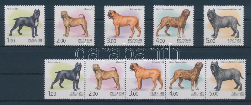 Kutyafajták (II.) ötöscsík + sor + kisív Hunderassen (II) Fünferstreifen + Satz + Kleinbogen Dog breeds (II) stripe of 5 + set + minisheet