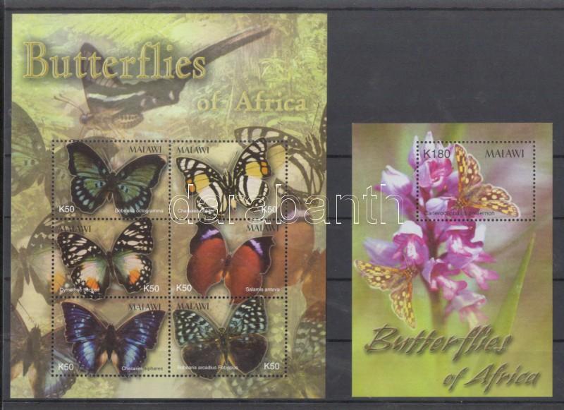 Lepkék kisív  + blokk Schmetterlinge Kleinbogen + Block Butterflies minisheet + block