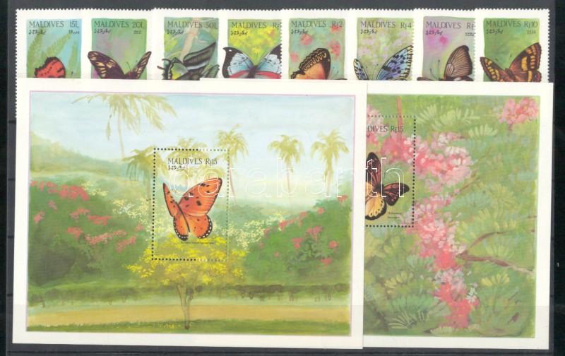 Butterflies set + 2 blocks Schmetterlinge Satz + 2 Blöcke Lepke sor + 2 blokk