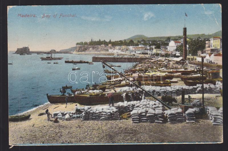 Sea mail postcard from Funchal to Hague, Hajóposta képeslap Funchalról Hágába, Schiffspost Postkarte aus Funcahl nach Haag