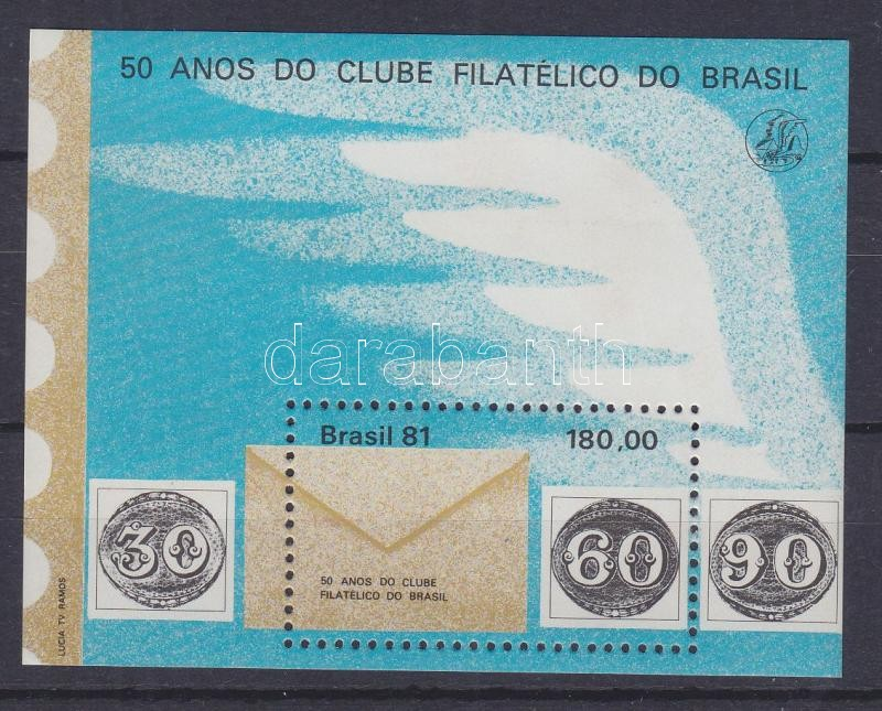 50 years Philatelic Club Rio block 50 Jahre Brasilianischer Philatelistenklub Block 50 éves a Riói Bélyeggyűjtő Klub blokk