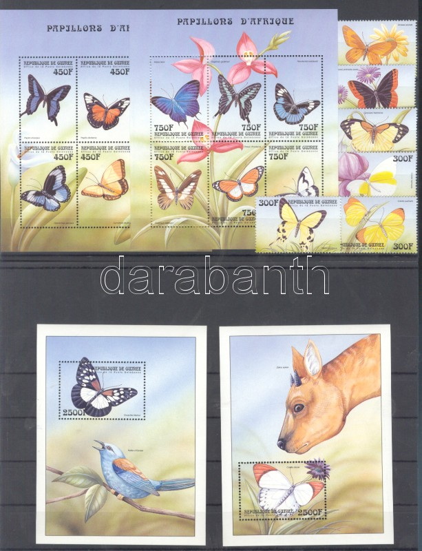 African butterflies set + minisheet set + block set Schmetterlinge Afrikas Satz + Kleinbogensatz + Blocksatz Afrikai lepkék sor + kisívsor + blokksor 2 stecklapon