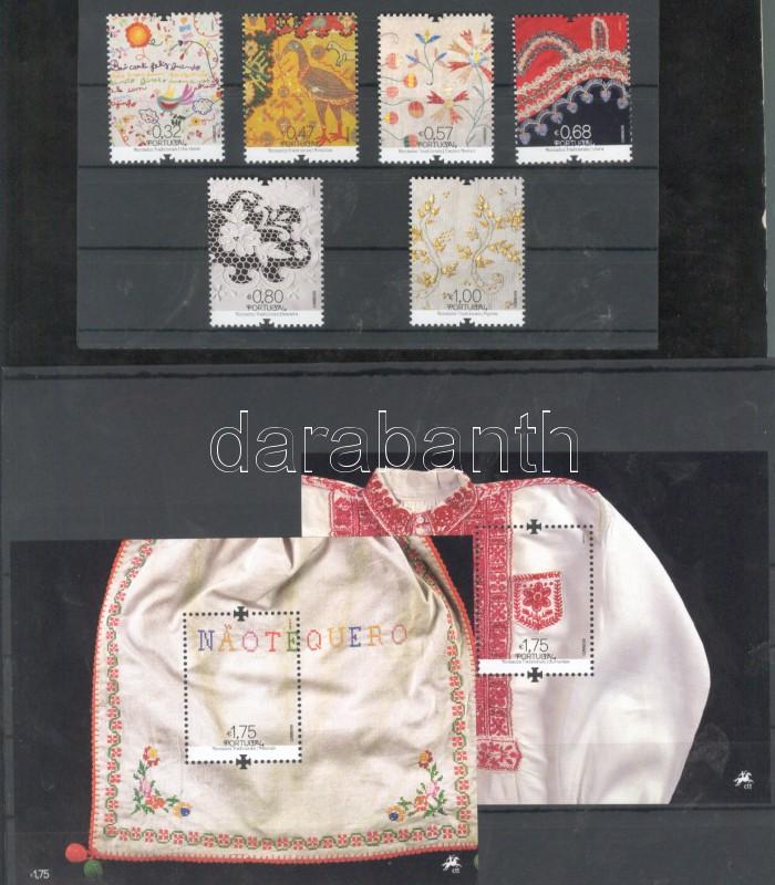Folk Art: Embroidery set + blockpair Népművészet: Hímzések sor + blokkpár