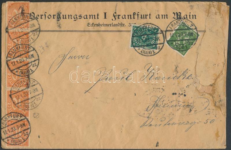 Definitive and official stamps mixed franking on cover Forgalmi és Hivatalos bélyegek vegyes bérmentesítése levélen
