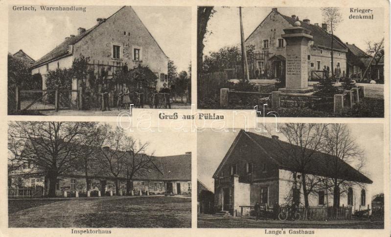 Bielawa, Pühlau; Kriegerdenkmal, Lange's Gasthaus, Inspektorhaus, Gerlach, Warenhandlung / war monument, guest house, inspector house, shop