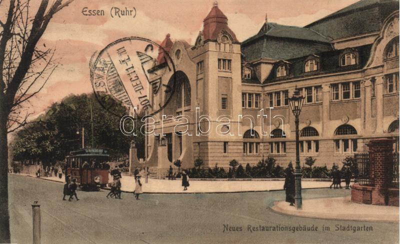 Essen, Stadtgarten, Neues Restaurationsgebäude / city park, restaurant, tram