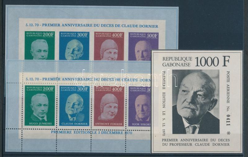 1st anniversary of the death of Claude Dornier perforated and imperforated minisheets + 1 perforated and 2 imperforated blocks, Claude Dornier halálának első évfordulója fogazott és vágott kisív + 1 fogazott és 2 vágott blokk, 1. Todestag von Claude Dornier gezähnter und ungezähnter Kleinbögen + 1 gezähnter und 2 ungezähnte Blöcke