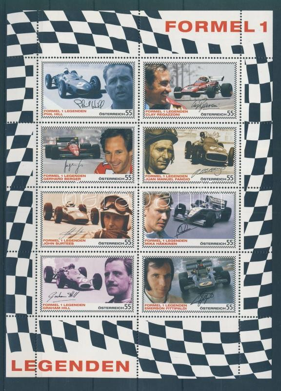 Formula one racing driver (V) minisheet Forma 1 autóversenyzők (V) kisív