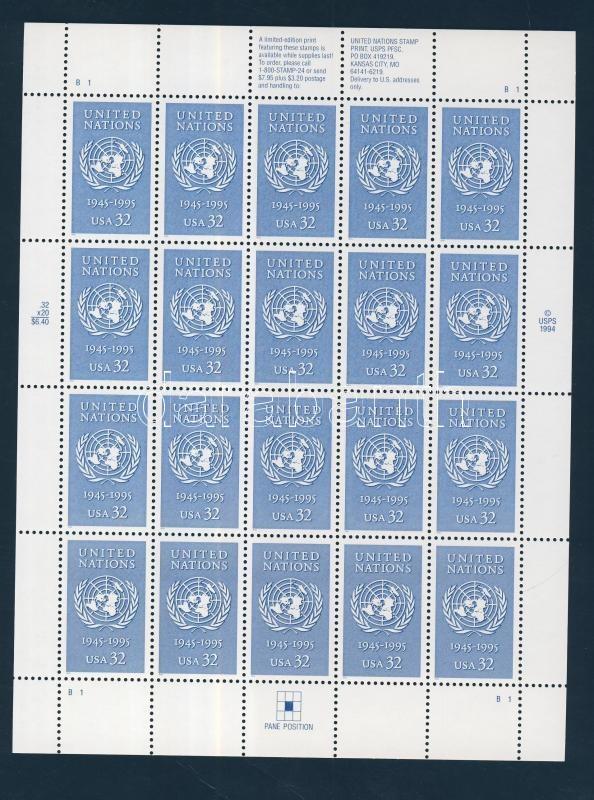 50 éves az ENSZ kisív 50 Jahre Vereinte Nationen (UNO) Bogen The 50th anniversary of the UN mini sheet