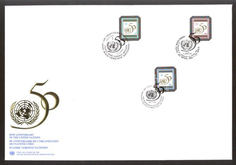 UNO Vienna, UNO Geneva, UNO New York: The 50th anniversary of the UN 3 diff. stamps FDC Vereinte Naitonen Wien, Genf, New York: 50 Jahre Vereinte Nationen 3 verschiedene Marken ENSZ Bécs, ENSZ Genf, ENSZ New York: 50 éves az ENSZ 3 klf bélyeg FDC