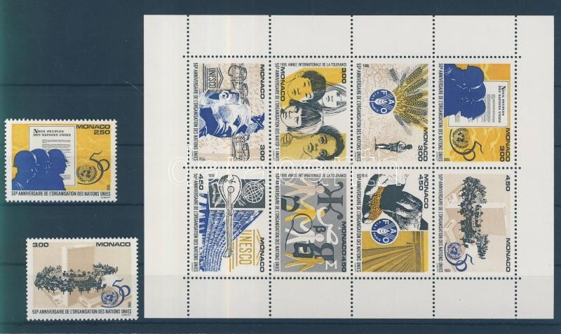 The 50th anniversary of the UN 2 diff. stamps + minisheet 50 Jahre UNO 2 verschiedene Marken + Kleinbogen 50 éves az ENSZ 2 klf bélyeg + kisív