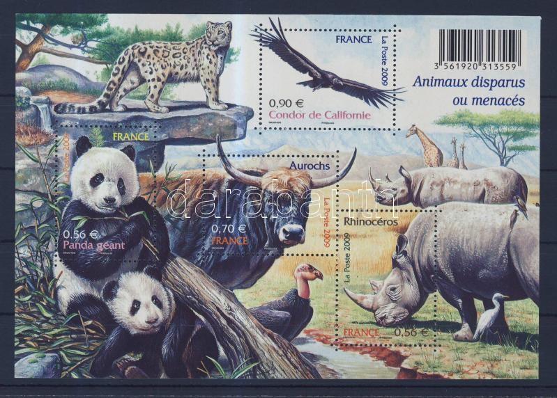 Kihalt és veszélyeztetett állatok blokk Extinct and endangered animals, blocks