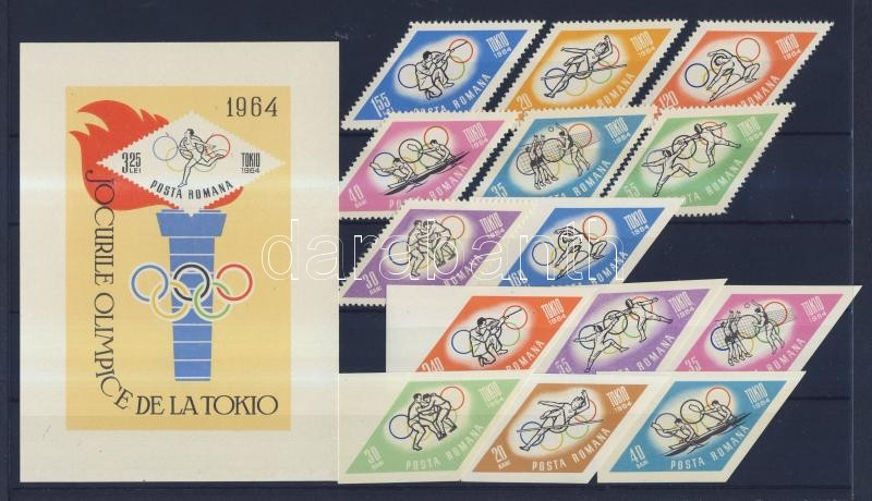 Tokyo Olympics perforated and imperforated set (Missing 2315, 2317) Tokiói olimpia fogazott és vágott sor(Hiányzik 2315, 2317)