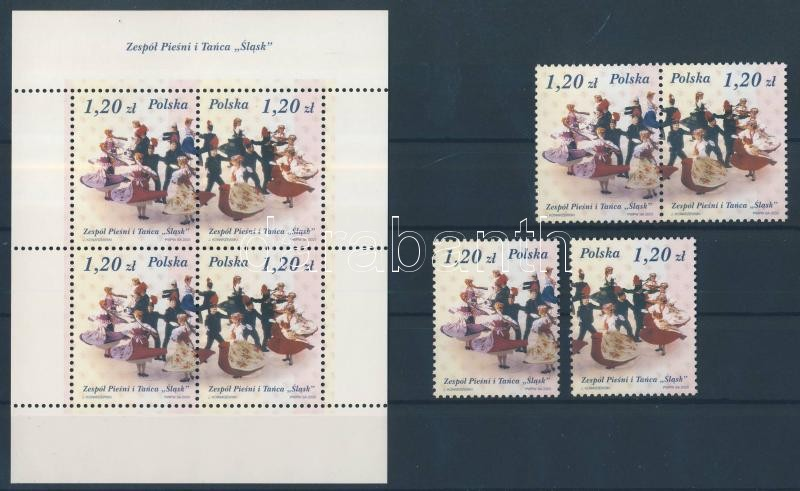 Néptáncegyüttes blokkból kitépett bélyegek párban és külön + blokk Folk dance block + stamps in pair and separately