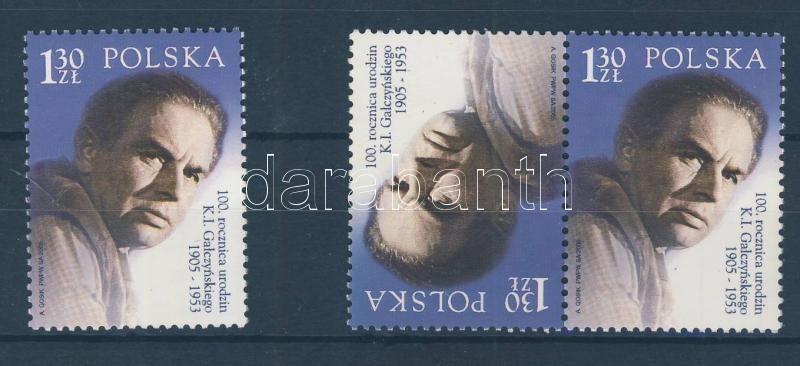 Born 100 years ago Konstanty Ildefons Gaczynski stamp + tete beche pair 100 éve született Konstanty Ildefons Gaczynski bélyeg + fordított pár