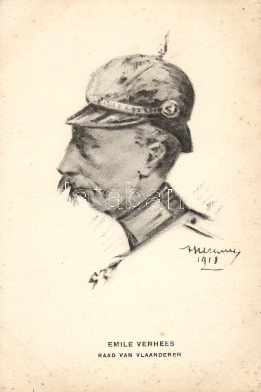 Flemish military, Emile Verhees, artist signed, Flamand katona, Emile Verhees, szignós