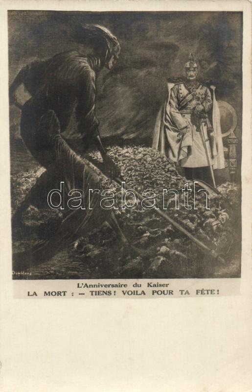 WWI Military Peace propaganda, Illustration from the Parisian newspaper, Le Petit Journal, Wilhelm II, Első világháborús béke propaganda lap, 'Le Petit Journal' illusztráció; II. Vilmos